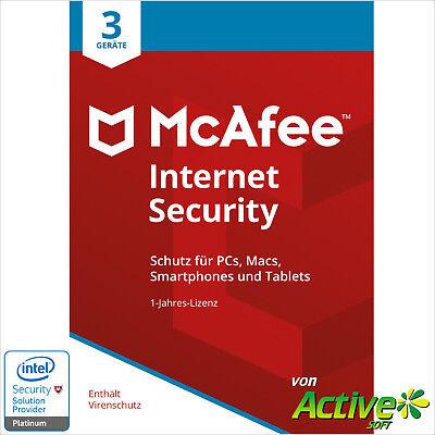 McAFEE Internet Security 2021 3PC 1Jahr | VOLLVERSION / Upgrade | UE DE-Lizenz