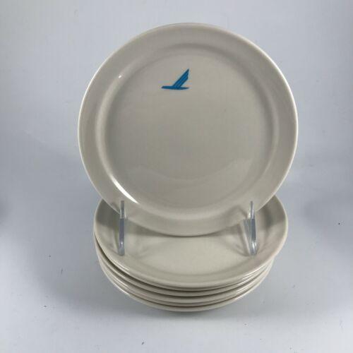"""Vtg MAYER CHINA """"PIEDMONT BLUE BIRD"""" Set of 7 PLATES 6"""" First Class AIRLINE USA"""