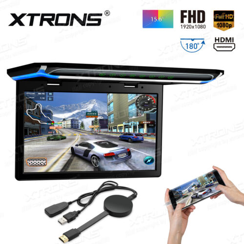 "15.6"" HD Car Roof Overhead Flip Down Monitor Game HDMI +Mirroring Screen Adapter"