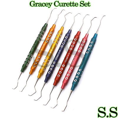 Set Of 7 Gracey Curette Periodontal Hollow Handle Colored Surgical Scaler Dental