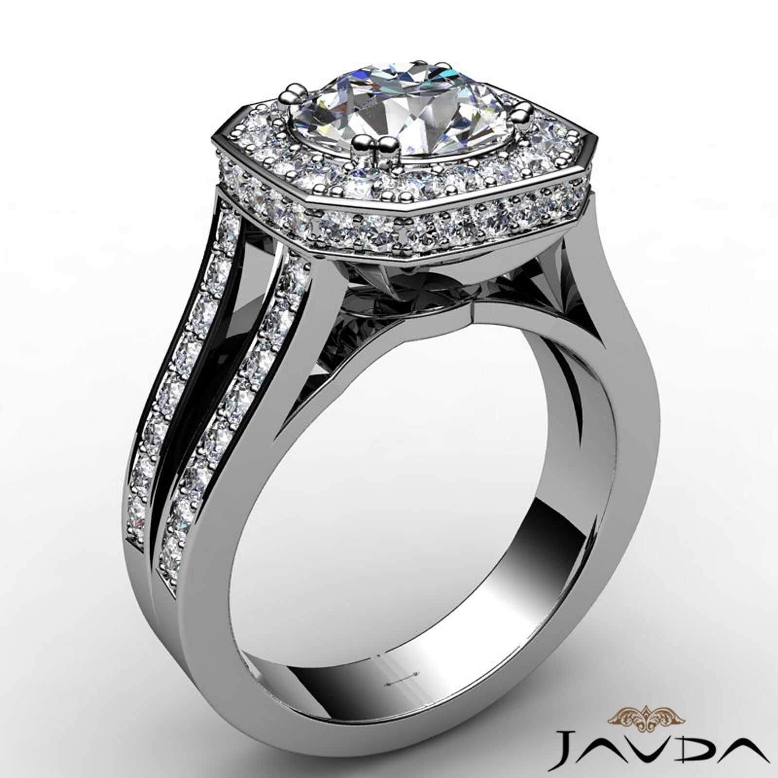 Hexagon Halo Split Shank Round Diamond Engagement Ring GIA F VS1 Clarity 2.84Ct 1