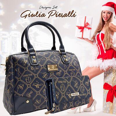 Giulia Pieralli Damen Handtaschen Blau Damentasche SET + Portmonee 2622b - Seide Stricken Tasche