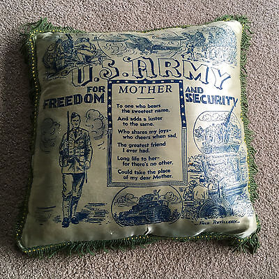 Us Army Fringed - VTG Fringed Satin US ARMY throw PILLOW Mother Poem Security Freedom Souvenir