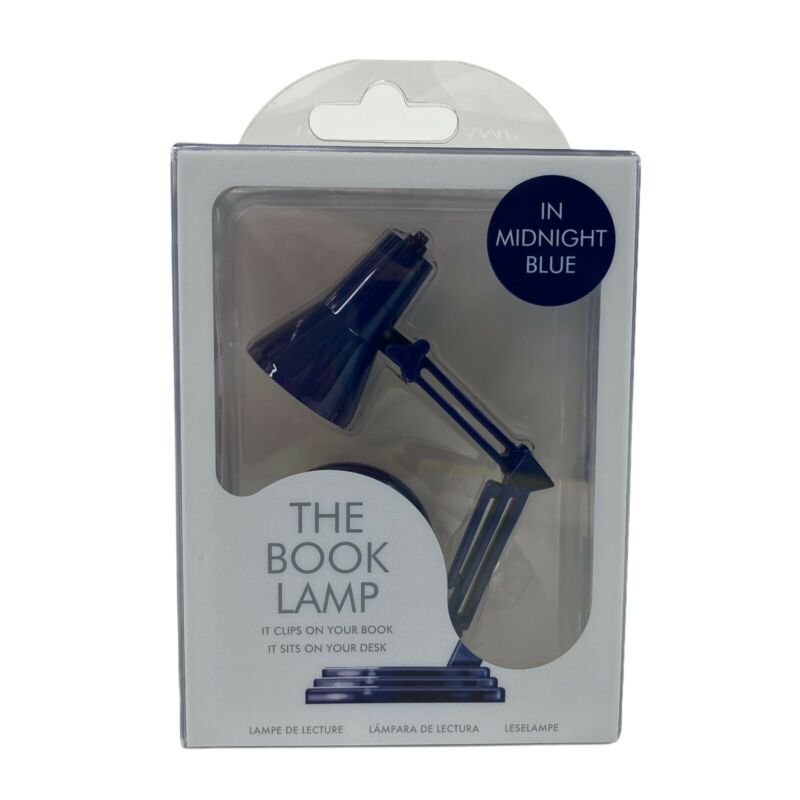 """THE BOOK LAMP MIDNIGHT BLUE CLIP ON BOOK LIGHT / SIT ON DESK 3.6"""" / RETRO STYLE"""