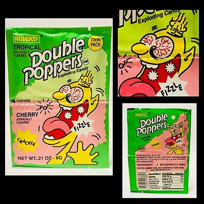 Vintage 1993 Albert & Sons DOUBLE POPPERS Exploding Candy Pack container bubble