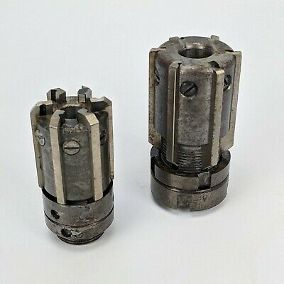 Vintage Pair Of Multi-blade Adjustable Reamers - W.m Milling Machinist Cutter