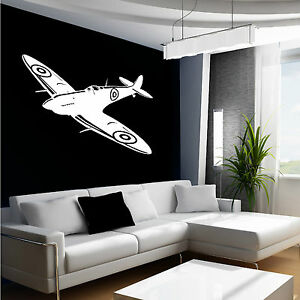 SPITFIRE-WALL-ART-STICKER-BRITISH-FIGHTER-WW2-AIRCRAFT-PLANE-AEROPLANE-DECAL