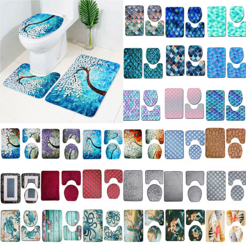 3tlg Badezimmer Set 3D Badteppich Badvorleger Deckelbezug WC Duschmattes Teppich