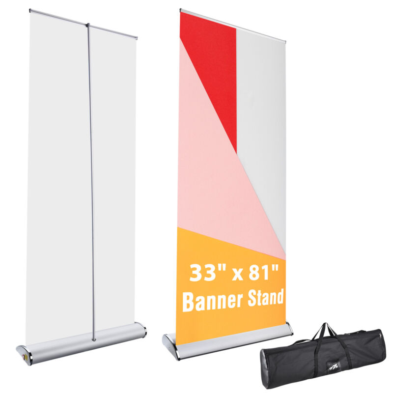 """33""""x81"""" Aluminum Retractable Roll Up Banner Stand Trade Show Display Portable"""