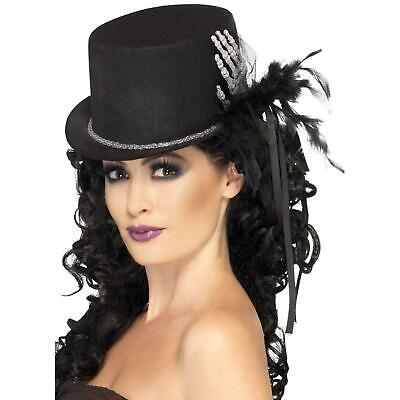 Ladies Gothic Halloween Day Of The Dead Black Skeleton Top Hat Costume - Black Top Hats Kostüm
