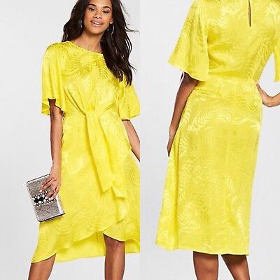 New V By Very Silky Yellow Palm Print Front Knot Midi Day...