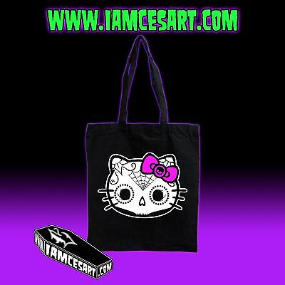 Hello Kitty Day of the dead  Skull Dia De Los Muertos Black Tote Bag iamcesart - Dia De Los Muertos Hello Kitty