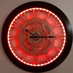 Steampunk Wall Clock LED COLORS 28in Large Analog Contemporary Industrial Gears