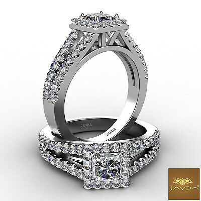 Split Shank Halo Princess Diamond Engagement French Pave Ring GIA F VS1 1.47 Ct