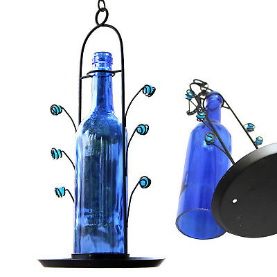 Blue Wine Bottle Seed Bird Feeder Easy Fill Bright Colorful Attracts Birds