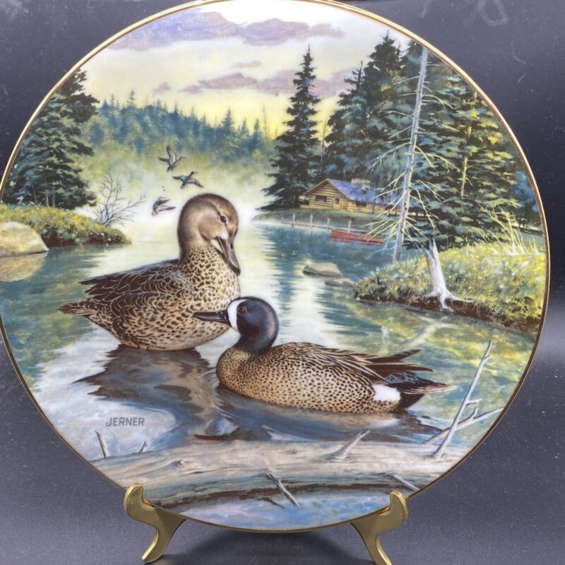 Knowles The Blue-Winged Teal Collector Plate Living w/ Nature Jerner Ducks 1988