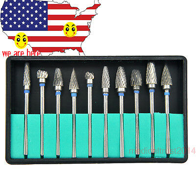 New 10x Tungsten Steel Dental Burs Lab Burrs Tooth Drill For Handpiece Polisher