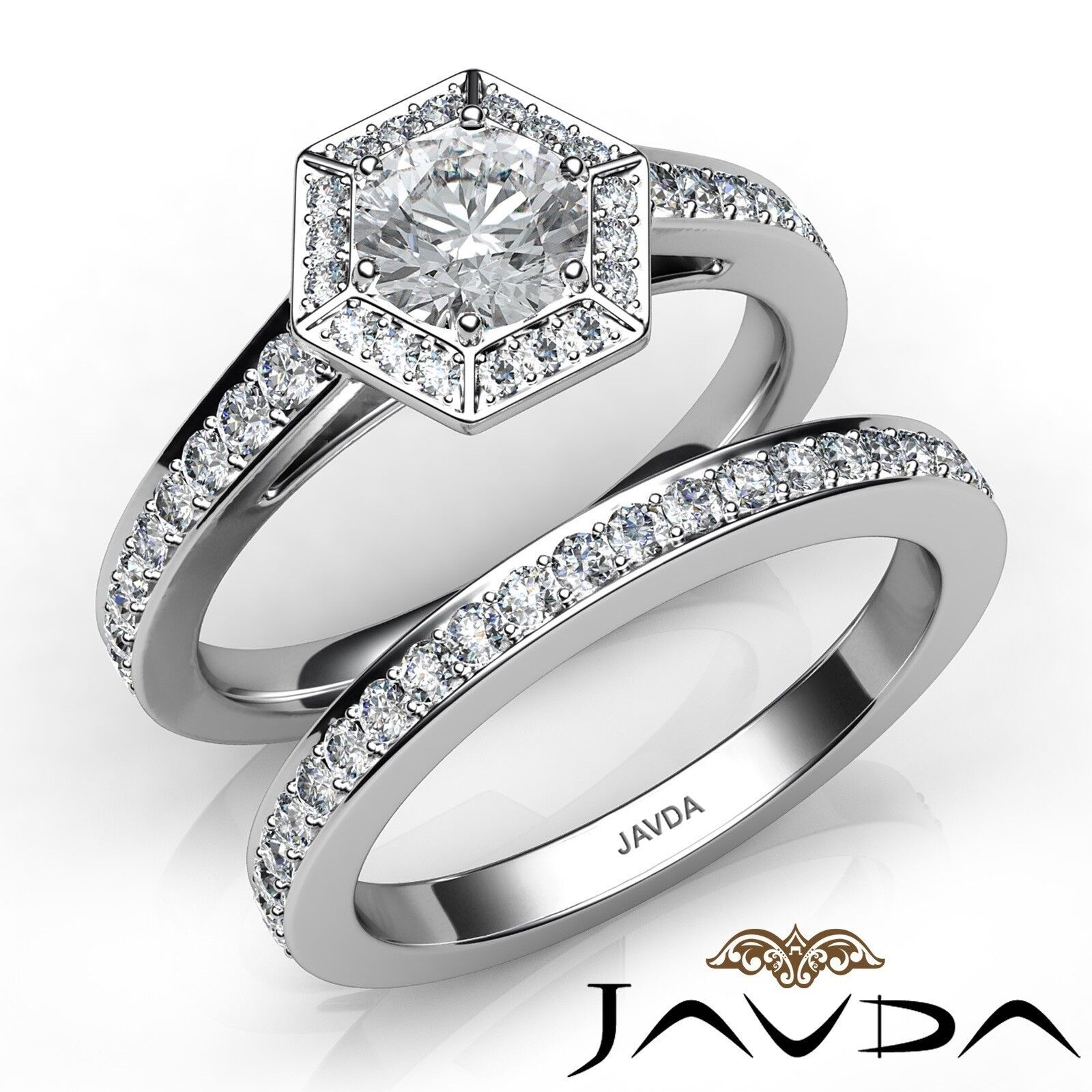 1.66ctw Hexagon Halo Bridal Set Round Diamond Engagement Ring GIA H-VVS1 W Gold