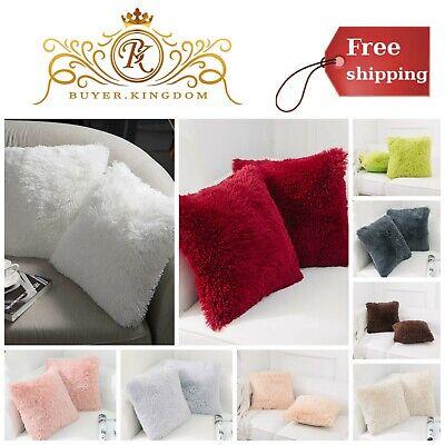 Soft Cozy Faux Fur Fleece Cushion Cover Bed Sofa Decor Throw Pillow Case 2