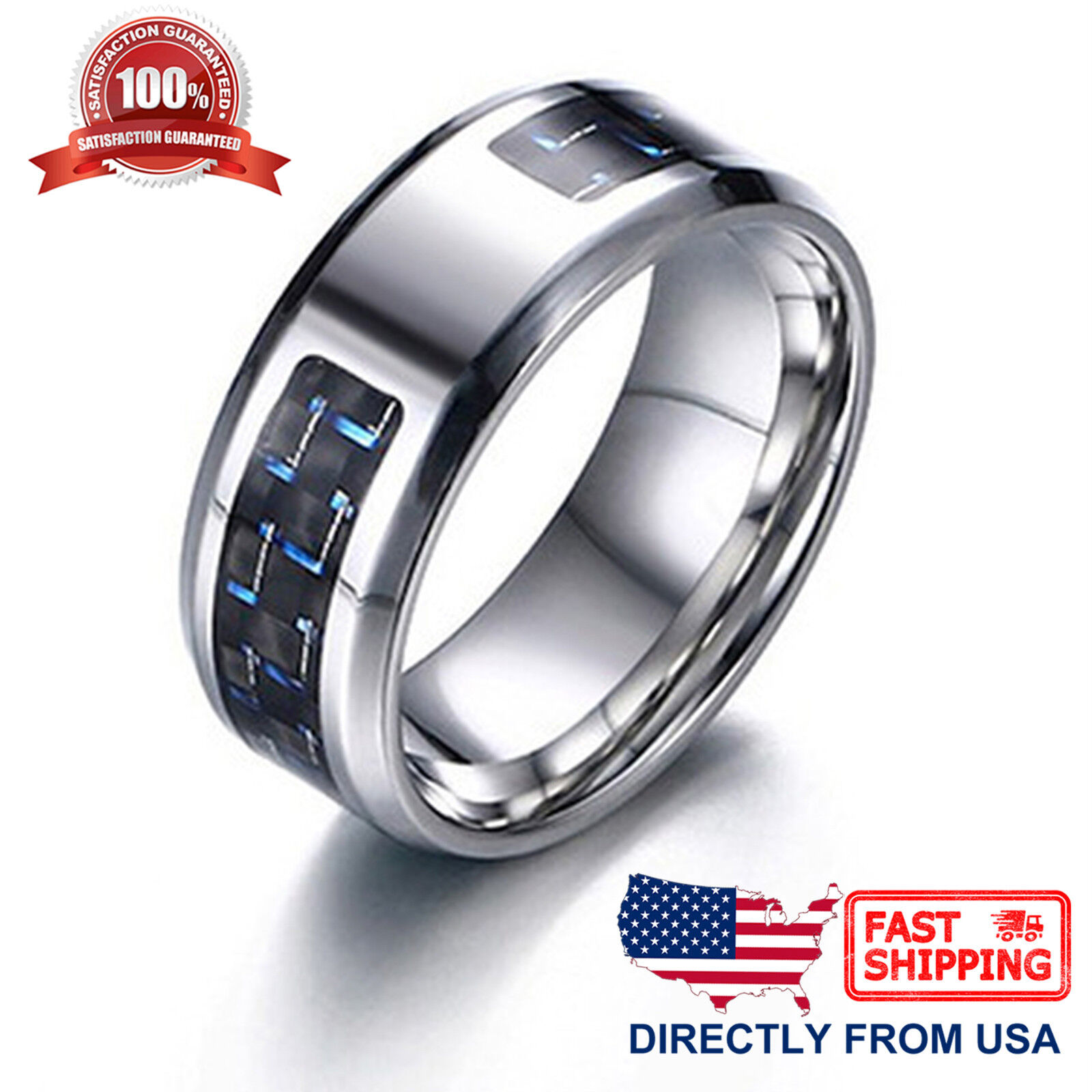 Men's Ring, Stainless Steel with Carbon Fiber 8mm Wedding Band, Comfort Fit Jewelry & Watches