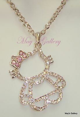 """Hello Kitty Pendant and  Necklace Crystal 27"""" Long Charms Charm Bling Bling NIB"""