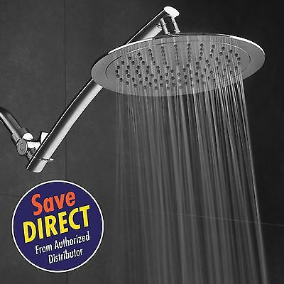 """NEW Large 9"""" Chrome Face Round Rainfall Rain Shower Head with 15"""" Extension Arm"""