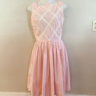 Vintage Lloyd Shinn Womens Size M 18x 26 X 35 Pink Lace Gathered A Line Dress