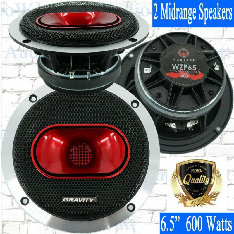 "2x Gravity WZP65 6.5"" 600 Watts 4-Ohm Midrange Coaxial Loud Speakers 1 Pair New"