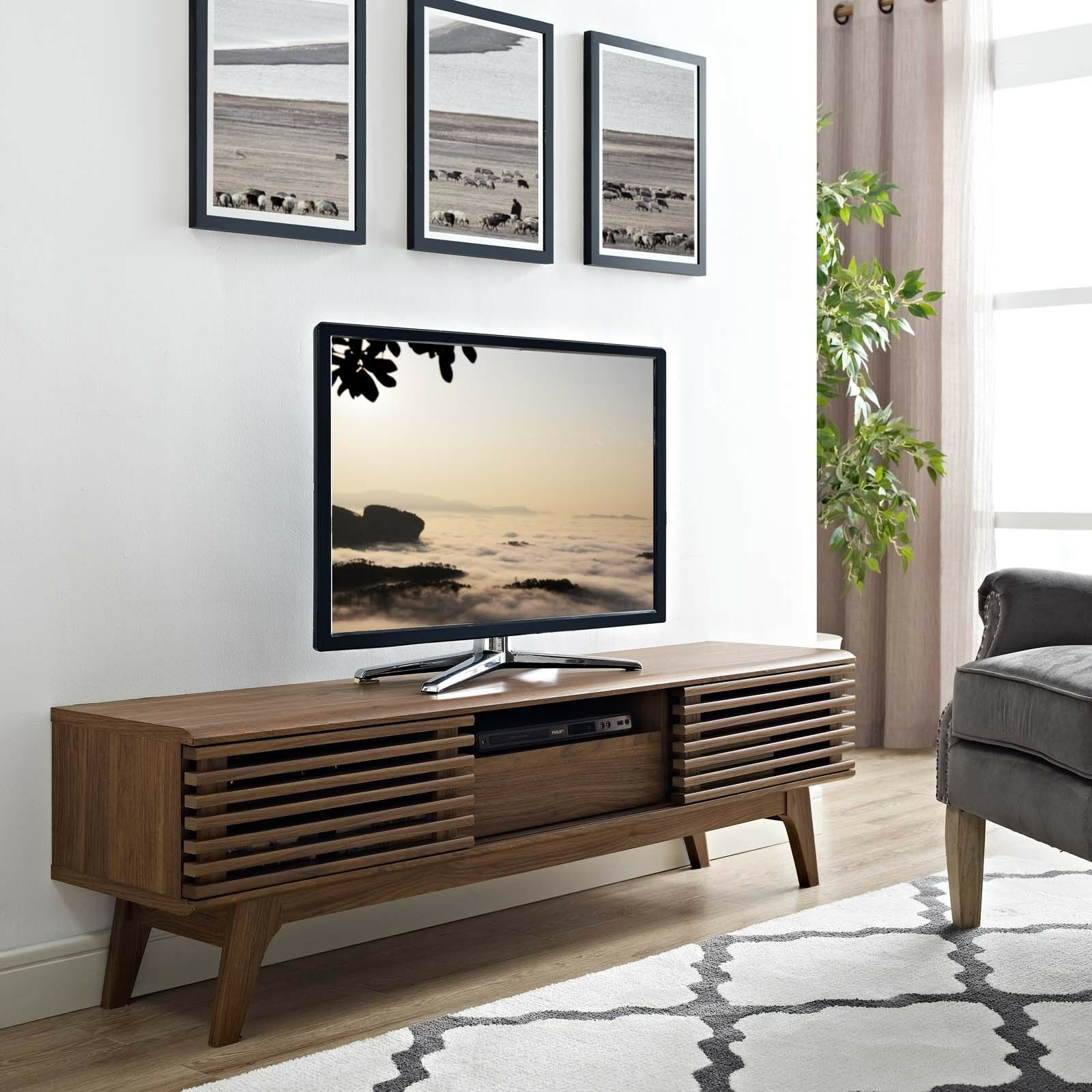 Details About Mid Century Modern Walnut Wood Low Profile 59 Tv Stand Media Center Console