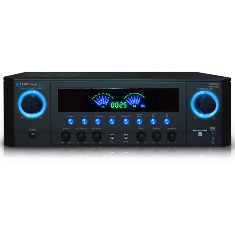 Technical Pro 1000W Professional Bluetooth Receiver w/ USB SD Card, 2 Mic Inputs