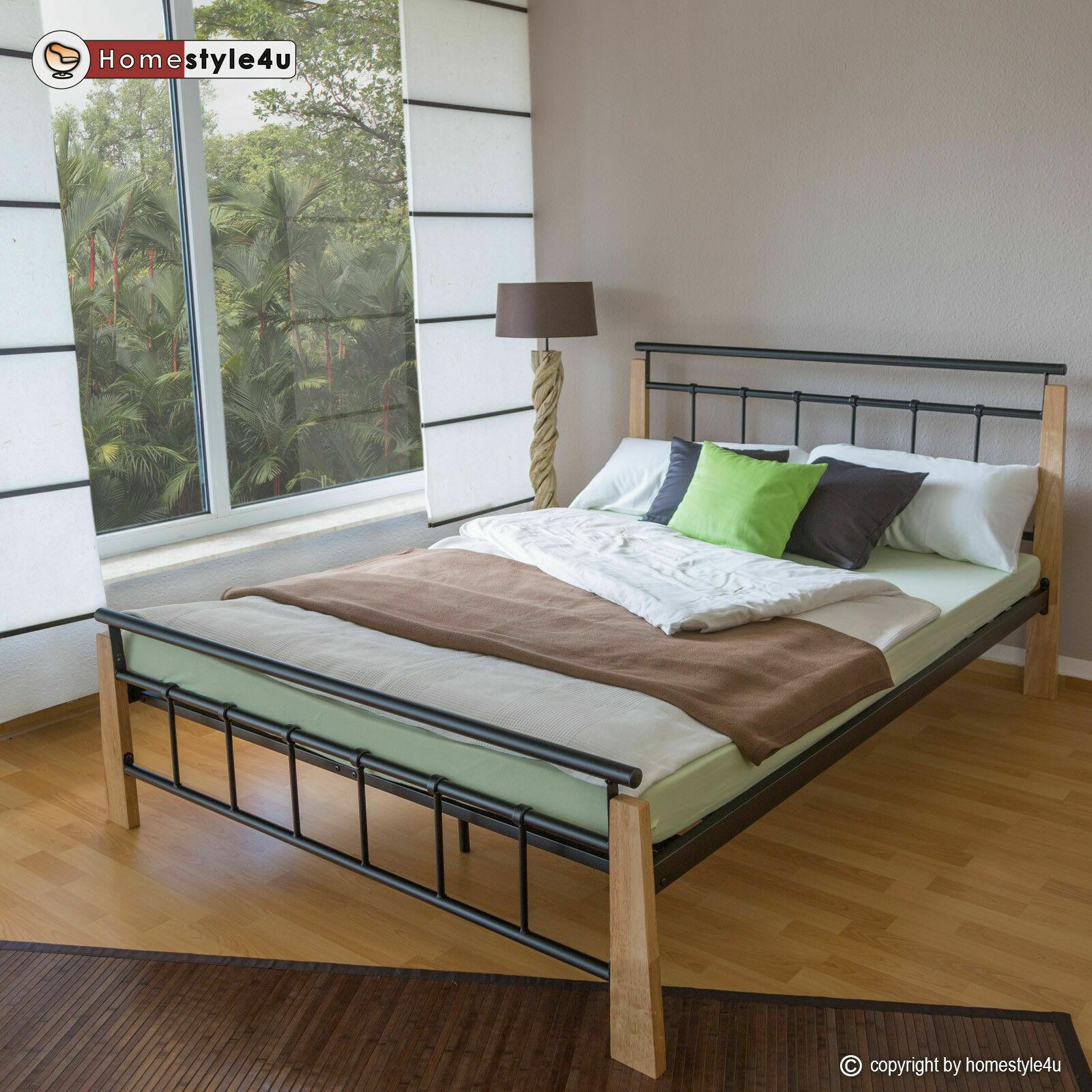 Metallbett 140 x 200 Bettgestell Doppelbett Bettrahmen + Lattenrost 5072 schwarz