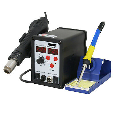 2in1 Soldering Iron Rework Station Hot Air Gun Desoldering Welder 11 Tips 898d