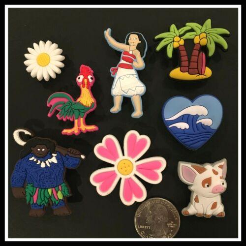 8 Shoe Charms for Crocs Disney Movie MOANA & Maui Heihei (Chicken) Pua (Pig)