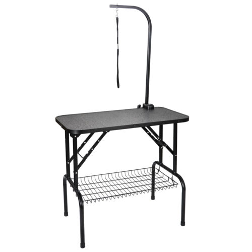 Adjustable 32″ Foldable Pet Dog Cat Grooming Table with Adjustable Arm & Noose Dog Supplies