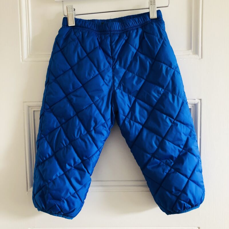 LL Bean Toddler Snow Pants Sherpa Fleece Lined Blue 2T