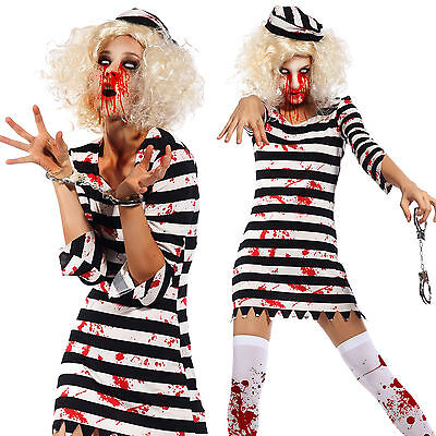 Halloween Zombie Costume Prisoner Convict Bloodstain Women Scary Walking (Prisoner Halloween Costume Women)