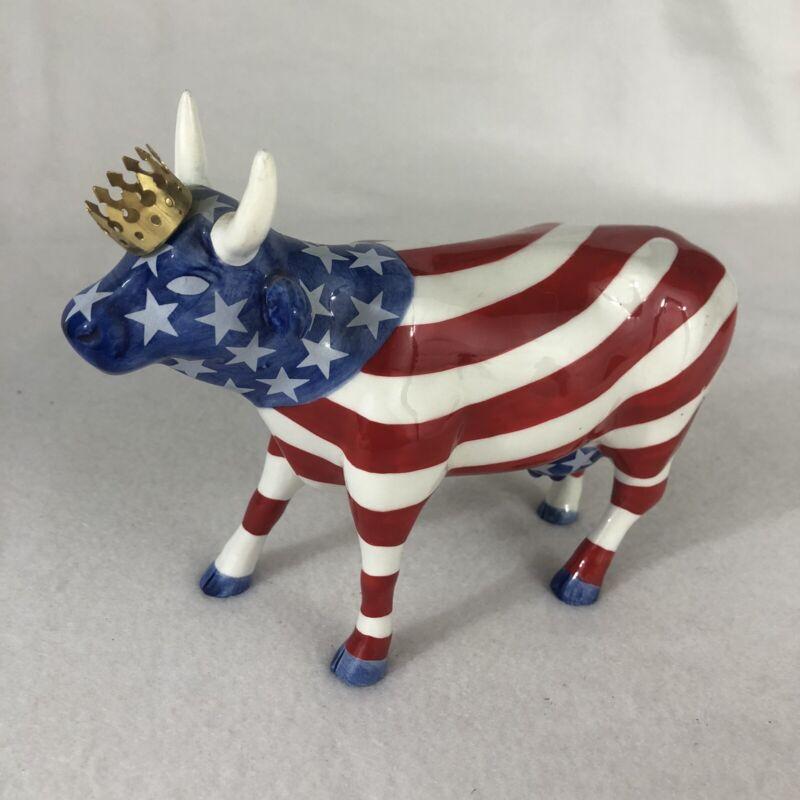 "Cow Parade Westland  2001 ""AMERICAN ROYAL"" #9189 Cow, USA, Gold Crown"