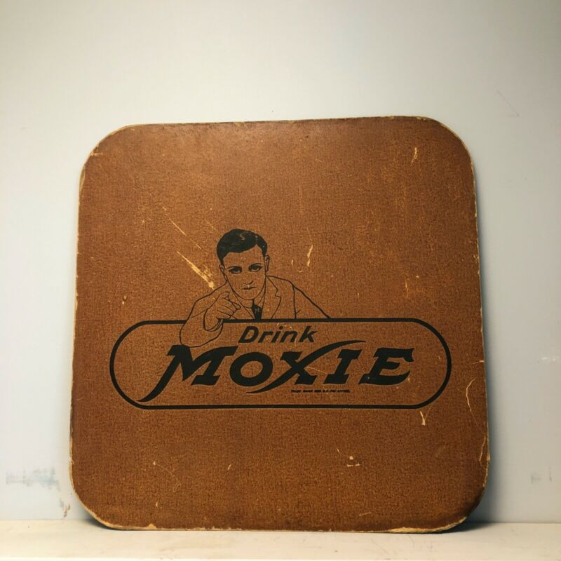 VINTAGE DRINK MOXIE / PUREOXIA GINGER ALE - SERVING TRAY - PRESSBOARD SIGN