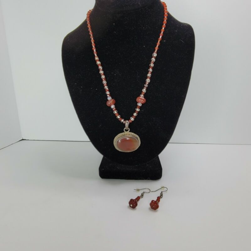 Sterling Silver Amber Agate Necklace And Earring Set