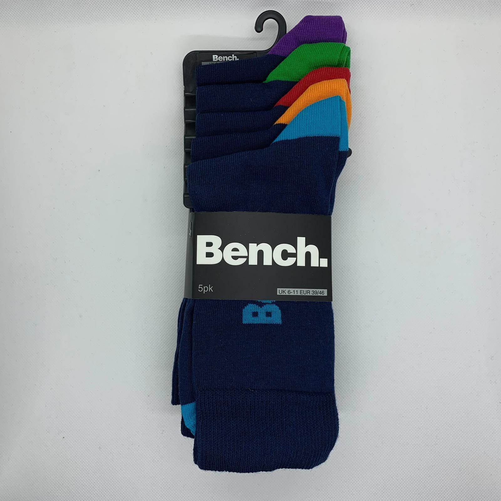 5 Paar Bench Hewett Socken | Herrensocken | Navy mit bunten Fußenden | Gr. 39-46
