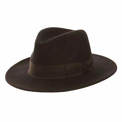 Herren schwarz 100% Wolle breite Krempe Filz Fedora Trilby Hut mit Band ()