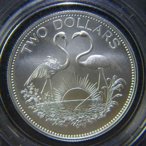 BAHAMAS $2 DOLLARS 1991 ( TWO FLAMINGOS ) SILVER Coin (KM# 66c)