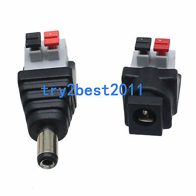 5.5x2.1mm DC Power Plugs Jack Square//Round Sockets Connector,CCTV LED Arduino Pi