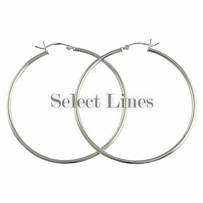 Sterling Silver 2mm Round Tube (Sterling Silver 2mm x 50mm Polished Hinged Hoop Earrings Round Hollow Tube)