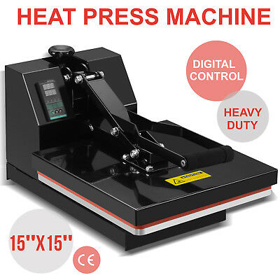 "15"" x 15"" Digital Clamshell Heat Press Machine Transfer Sublimation T-shirt"