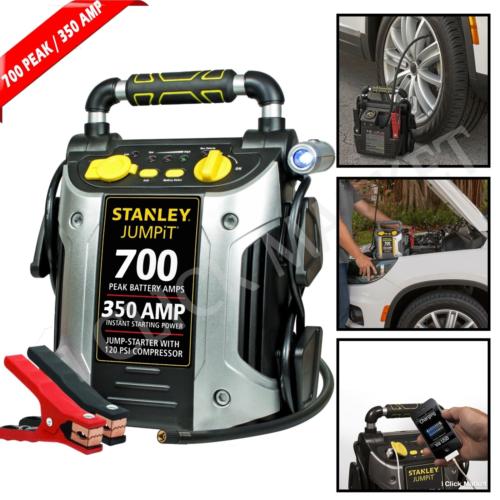 Battery Jump Starter Portable Air Compressor Peak Power