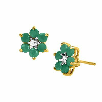 1 ct Natural Emerald Flower Earrings with Diamonds, 18K Gold-Plated Silver
