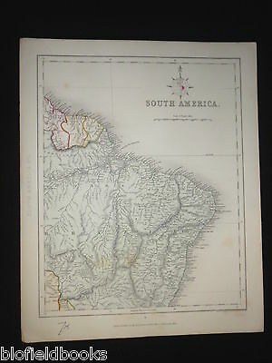 Original Antiquarian Map of South America c1850 Brazil & Dutch Guayana/Guyana