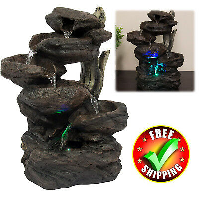 - Patio Fountain With LED Light Water Garden Outdoor Lawn Yard Decor Decoration