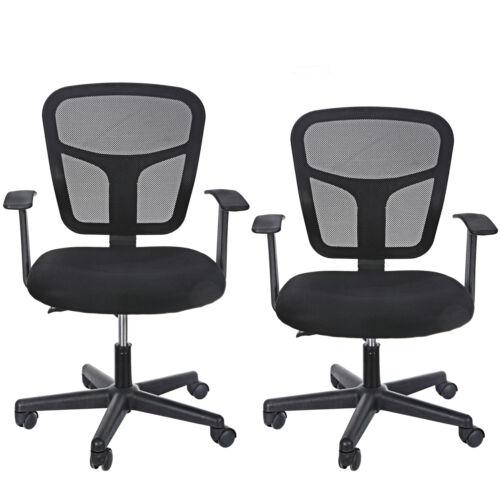 2pcs Mid Back Desk Office Chair with Armrests Mesh Back Ajustable Swivels Black Business & Industrial